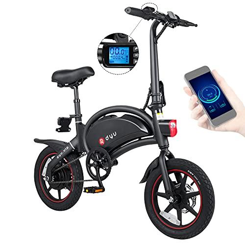 DYU Vélo Électrique Pliant 14' D3 + Jusqu'à 25km/h, Vitesse Réglable E-Bike, 36V/10Ah Batterie 250W ave Freins à Double Disque, Croisière, APP, BMS, Adulte, Noir