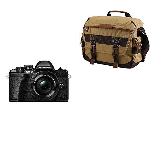 Olympus OM-D E-M10 Mark III - Cámara EVIL de 16.1 MP (4k, FHD, LCD, pantalla abatible, táctil, Wifi, 8.5 imágenes por segundo, OLED) negro - kit con objetivo M.ZUIKO 14-42 EZ + Vanguard Havana 33 - Bolsa, color marrón