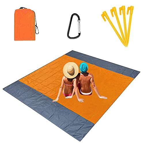 Alfombras de Playa 210 x 200 cm Manta de Picnic Impermeable con 4 Estaca Fijo, Portátil y Ligero Alfombras de Picnic para la Playa Acampar Picnic y Otra Actividad al Aire Libre, Naranja