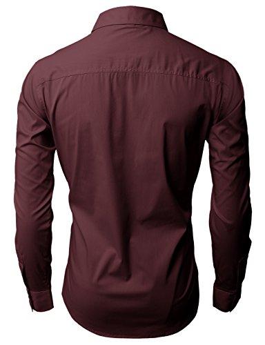 H2H Mens Wrinkle Resistant Slim Fit Dress Long Sleeve Shirts WINE US XL/Asia 3XL (JASK14)
