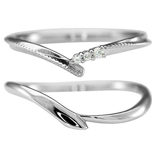 [ココカル]cococaru プラチナ Pt900 ペアリング 2本セット 結婚指輪 マリッジリング ダイヤモンド 日本製(レディースサイズ15号 メンズサイズ14号)
