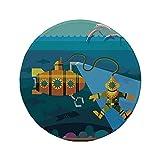 Not Applicable Tappetino per Mouse Rotondo in Gomma Antiscivolo Decoro Sottomarino Giallo Un Sottomarino e Un subacqueo Che Salta Stampa di Delfini Zenzero Blu Petrolio 7.9'x7.9'x3MM