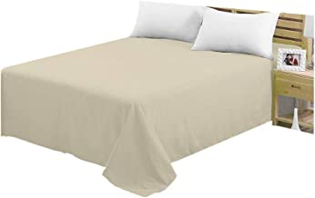 CC&DD HOME FASHION Flat Sheets,1800 Series Ultra Soft Brushed Microfiber Flat Bed Sheet Only (Dark-Beige, 2-Pack Twin)