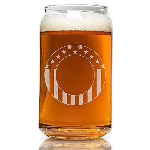 Monogramm Gravur Bier kann glass-usa Flagge O-Monogram