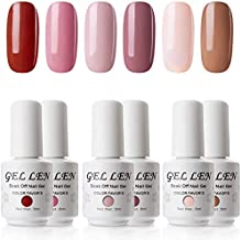 Gellen Gel Nail Polish Set - Pink Nudes 6 Colors, Popular Nail Art Colors UV LED Soak Off Nail Gel Kit