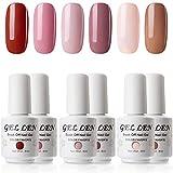 Gellen Gel Nail Polish Set - Pink Nudes 6 Colors, Popular Nail Art Colors UV LED Soak Off Nail Gel...