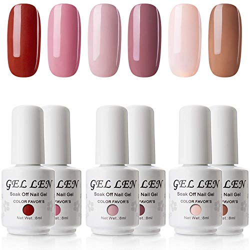 Gellen Gel Nail Polish Set - Pink Nudes 6 Colors, Popular Nail Art Colors UV LED Soak Off Autumn Nail Gel Kit