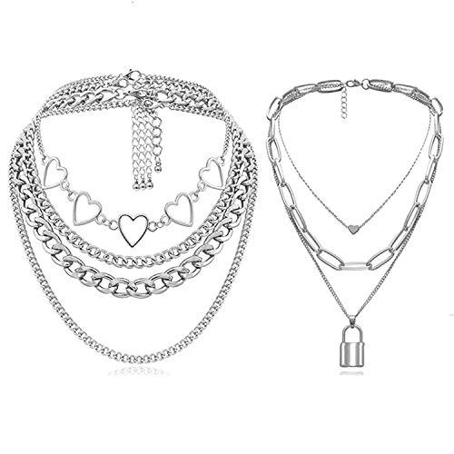Simin 2 Stück Punk Kette Halskette, Anhänger Halskette Multilayer Punk kette Einfache Kette Halskette Lock Kette Legierung Vorhängeschloss Punk Sperren Anhänger Halskette für Damen