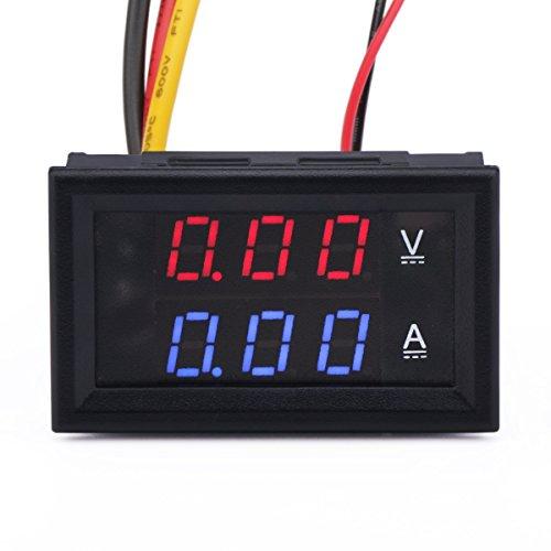 """DROK 100014 0.28""""LED DC0-100V 10A Digital voltmeter Ammeter 2in1 Multimeter 12V/24V Voltage Amperage Meter Volt Amp Gauge Panel"""