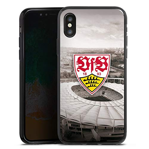 DeinDesign Silikon Hülle kompatibel mit Apple iPhone XS Case schwarz Handyhülle VfB Stuttgart Offizielles Lizenzprodukt Stadion