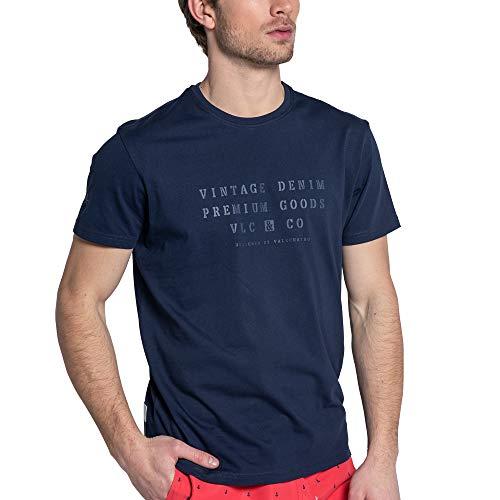Valecuatro Camiseta Básica para Hombre con Diseño Vintage, Cuello Redondo Manga Corta