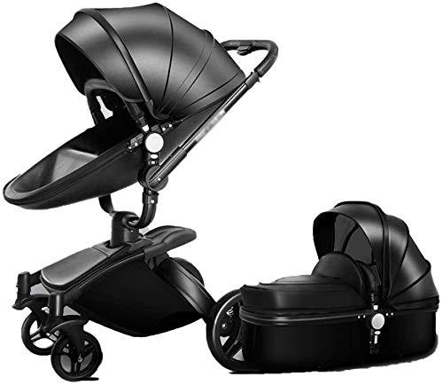 DAGCOT Ligero cochecito for bebés puede sentarse en una simple del cochecito del paraguas habitaciones de niños paisaje de la alta Cochecito de dos vías, Go Travel fuera (Color : Black)