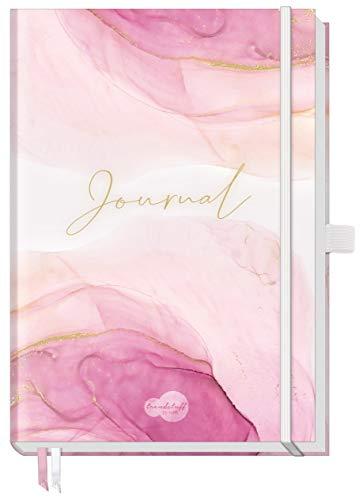 Trendstuff Premium Bullet Journal dotted [Pink Glamour] - Cuaderno de notas (A5, 188 páginas, papel grueso, con botón de puntos, banda de goma, portalápices)