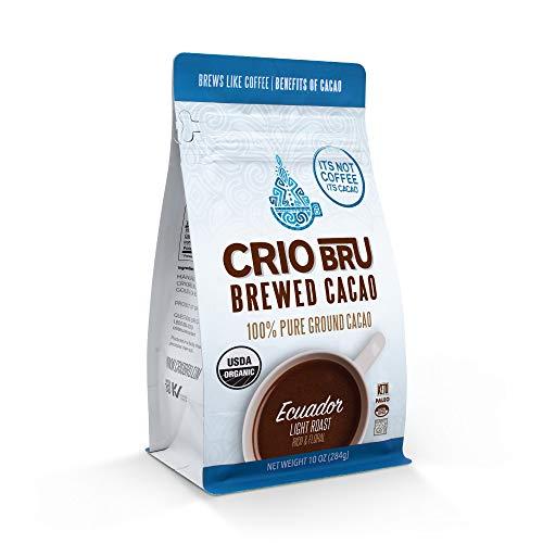 Crio Bru Brewed Cacao: Ecuador Light Roast 10oz Bag | 100% Pure Ground Cacao | Great Substitute to Herbal Tea and Coffee | Honest Energy | Keto Paleo Organic Non-GMO
