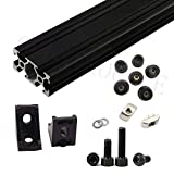 Gimax Black AM8 3D Printer Aluminum Extrusion Profile Metal Frame Full Kit w/Nuts Screw Bracket Corner F/Anet A8 Upgrade - (Size: Full Set kit, Color: Black)
