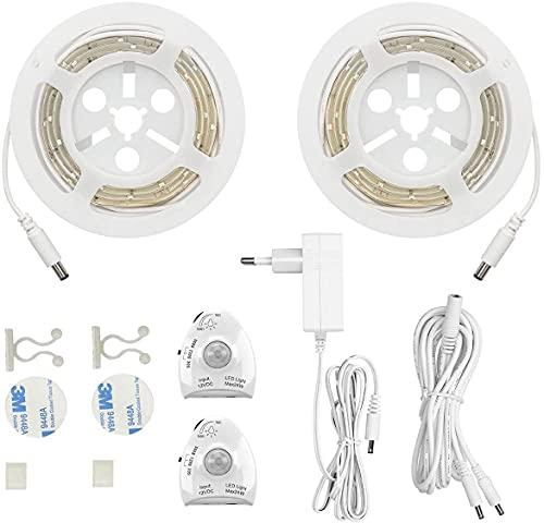 LED Bettlicht mit Bewegungsmelder Masqudo LED Bettlicht mit Bewegungssensor- Bett Lichtleiste Nachtlicht Streifen dimmbar - Bewegungssensor Licht Leiste - Baby Beleuchtung warmweiß