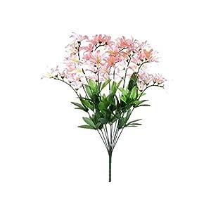 """Silk Flower Arrangements Pink Cream Freesia Bush Filler Artificial Silk Flowers 22"""" Bouquet 12-0999 PK"""
