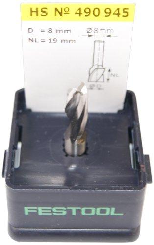 Festool 490945 HS Spiralnutfräser HS-Stahl Spi S8 D8/19