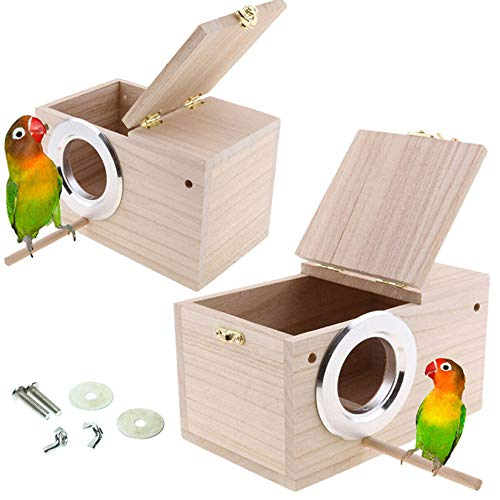 Hamiledyi Parakeet Nest Box 2Pcs Bird House Budgie Wood Breeding Box for Lovebirds, Parrot Mating Box