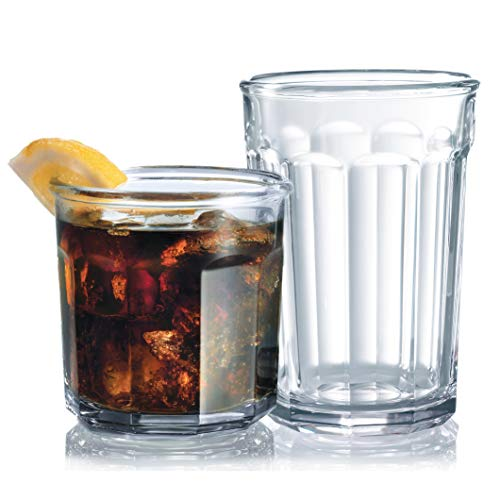 Le#039raze KC85211 Set of 16 Durable Drinking Heavy Base Cups | Glassware Set Includes 821 oz Highball 814 oz Tumbler Glasses Ideal for Water Clear