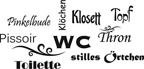 GRAZDesign 650160_30_070 Wandtattoo Wand-Worte WC Topf Klosett Thron - lustig | WC/Toilette | Badezimmer-Wände mit Aufkleber gestalten (62x30cm // 070 schwarz)
