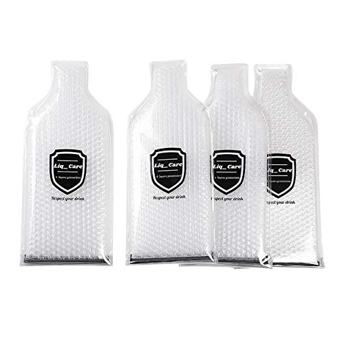 Liq_Care super Premium bottle protector - pack of 4 wine sleeves, best protection available, for packing alcohol in luggage. reusable leak proof airline wine carrier.