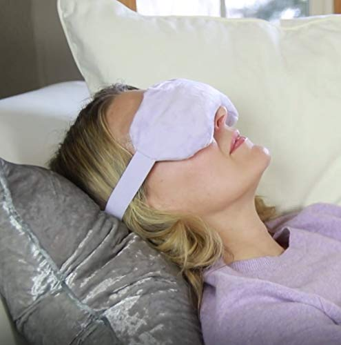 Heated Eye Mask for Dry Eyes by LifeGlow - Microwaveable Moist Heat Eye Compress - Model MHEC - Adjustable Size - One Lavender Scented Mask - Hot or Cold - Calms Itchy Puffy Eyes - Blepharitis Relief