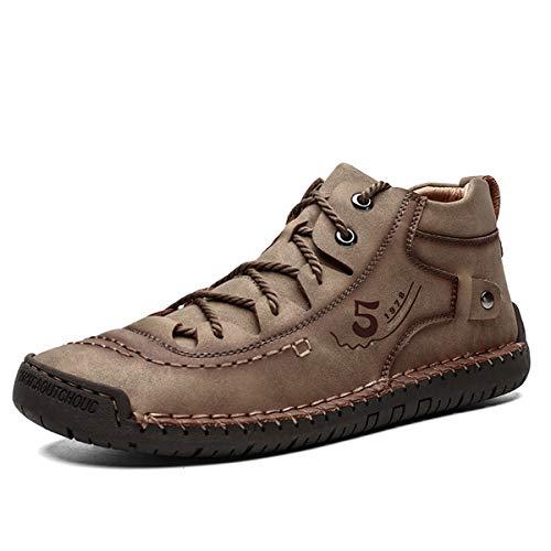 gracosy Zapatos de Cuero para Hombre PU Primavera High Top Planos Botines Casual Mocasines Zapatillas Artificial Transpirable Oxford Conducir Zapatos