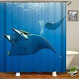 Shark Dolphin 3D Stereo Mode Digitaldruck Stereo Wasserdichter Und Formfester Duschvorhang Mit 12 Neuen C-Förmigen Kunststoffhaken