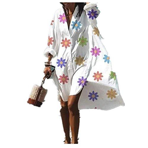 N\P - Abito estivo da donna, con scollo a V, stampa floreale, da spiaggia, abito longuette - blu - 5X