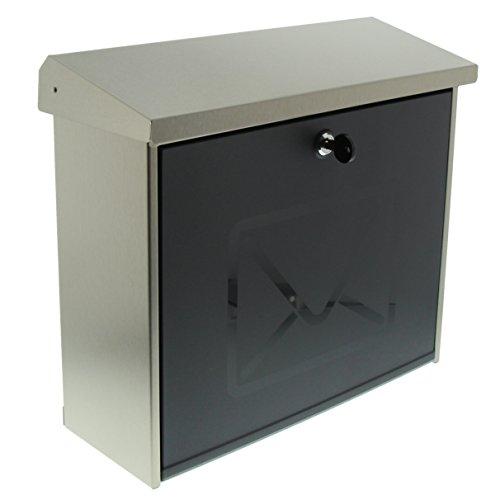 Burg-Wächter roestvrijstalen brievenbus met gesatineerde kunststof deur, A4-inworpformaat, volledig verzinkt, roestvrij staal Ohne Zeitungsfach Letters