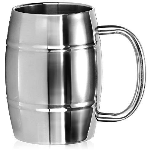 com-four® Edelstahlbecher XL - 450 ml Bierkrug aus Edelstahl - Edelstahltasse - Campingtasse doppelwandig und BPA-frei - Geschenk zum Vatertag (silberfarben - Fass-Optik)