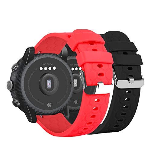Ruentech Armband Kompatibel mit Fossil Q Universal Smartwatch 22mm Silikon-Armband für Fossil Q Herren Gen 4 Explorist Hr/Herren Gen 3 Explorist Touchscreen/Wander Gen 2 Touchscreen-Sportuhr
