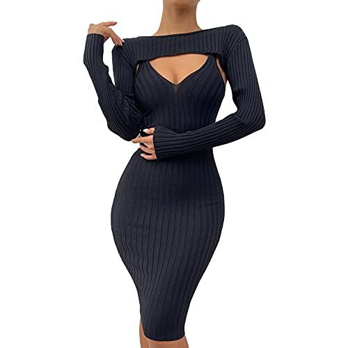 Siyova Conjunto de 2 piezas de vestido de mujer sexy de punto boho maxi cuello en V vestido de mujer elegante + camisetas de manga larga negras columpio vestido de mujer Streetwear, Negro , L
