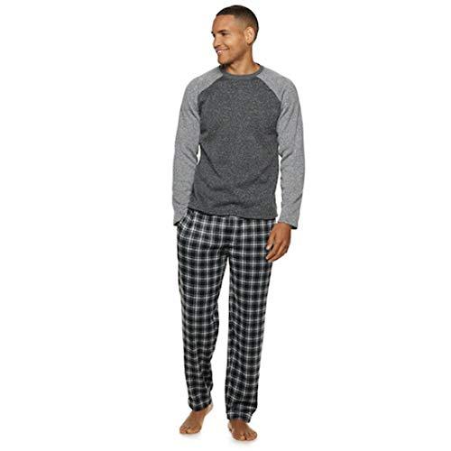 Fruit of the Loom Men's Signature Sweater Fleece Raglan Sleep Sleep Top & Plaid Sleep Pants Set, X-Large, Ebony