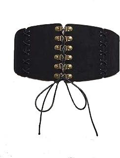 حزام مشد أزياء القوطي الأسود الأبيض البني أحزمة جلدية واسعة حزام مرنة للنساء الخصر فساتين زائد الحجم