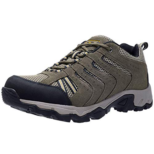 CAMELSPORTS Men's Hiking Shoes Low Top Trekking Boots Non-Slip Walking Sneakers for Outdoor Work Trail Casual Khaki