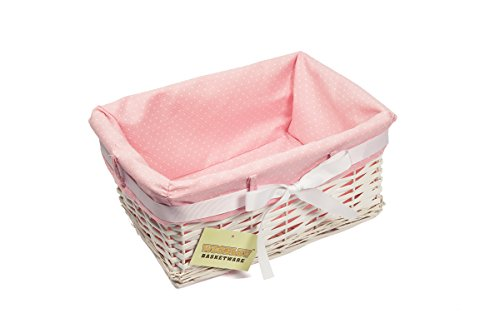 1 X Woodluv Rectangular White Willow Wicker Hamper Storage Basket-with Pink Dot Linning(Gift Hamper Basket) -Small