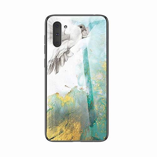 Miagon Galaxy Note 10 Glas Handyhülle,Marmor Serie 9H Panzerglas Rückseite mit Weicher Silikon Rahmen Kratzresistent Bumper Hülle für Samsung Galaxy Note 10,Taube