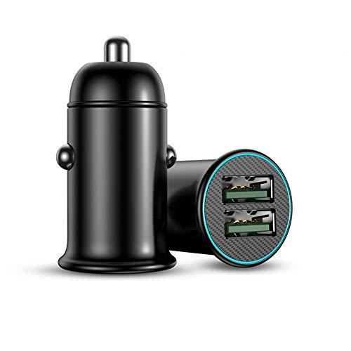 Cargador Coche USB,Cargador de Coche Doble Puerto,Cargador Multifuncional del Coche Cargador de Coche USB de Metal para i=Phone 11/XR/Xs/Max/X/8/7 Plus i=Pad