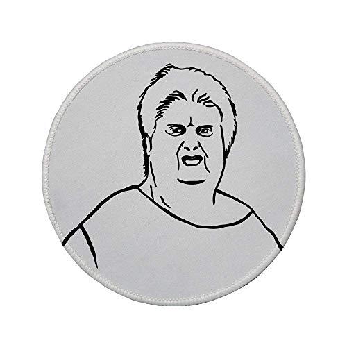 Rutschfreies Gummi-rundes Mauspad Humor-Dekor molliger Kerl Meme Fett Wütender Gesichtsausdruck Anzeige des Internet-Zeichendrucks Schwarz-Weiß 7.9