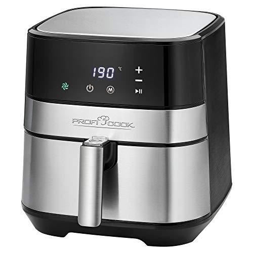 ProfiCook PC-FR 1177 H Heißluft-Fritteuse XXL, 9 Frittierprogramme, 5,5 L Kapazität, geringe Rauch-und Geruchsentwicklung, LED-Display, Edelstahlfront, Edelstahl, schwarz