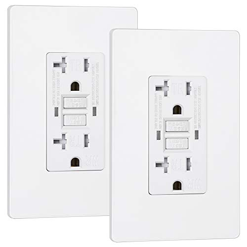 DEWENWILS 2-Pack 20A GFCI Outlet Receptacle with Tamper Resistant, Weather Resistant for Indoor Outdoor, Self-Test Ground Fault Circuit Interrupters, Decorative Wallplate Included, UL Listed, White