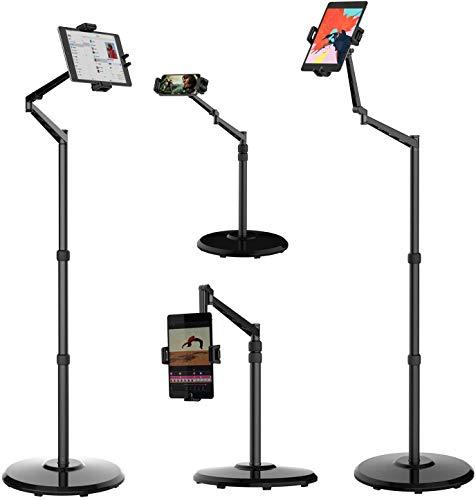 Smatree Soporte de pie para teléfono celular y tableta, rotación de 360 grados con soporte de altura ajustable, compatible con iPhone de 4,7 a 12 pulgadas, iPad Mini, iPad Air, iPad Pro, Kindle