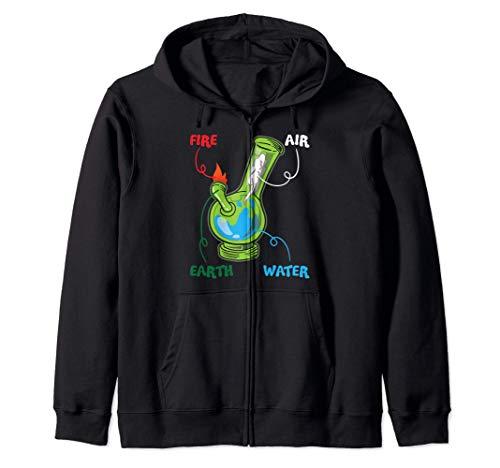 Bong Elements Fire Water Earth Air THC Weed Smoking Anatomy Zip Hoodie