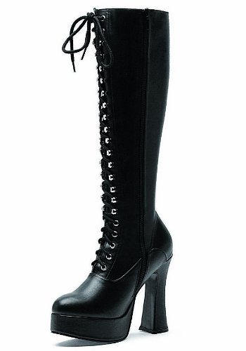 """Ellie Women's 557-Gina Knee-High Boot - 5"""" Heel Lace-up, Black Patent 10"""