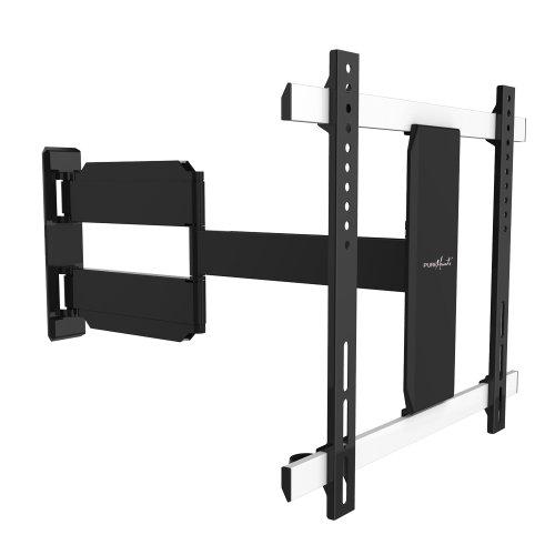 PureMounts SLIMFLEX-65 montaggio a parete per televisori con 71-165 cm (28-65 ), VESA 600x400, inclinabile: -15, orientabile: 180, distanza dal muro: 36-600 mm, carico massimo: 25 kg, nero