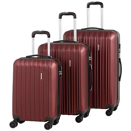 Murtisol Travel 3 Pieces ABS Luggage Sets Hardside Spinner Lightweight Durable Spinner Suitcase 20' 24' 28', 3PCS Wine Red