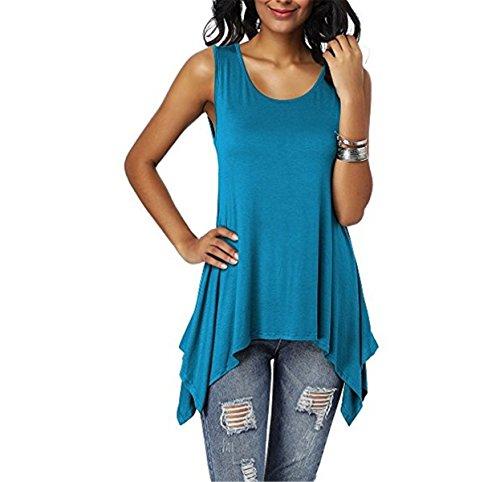 Dreamskull Damen Frauen T Shirts Oberteile Blusen Tops Tunika Tuniken Longshirt Lang Basic Rückenfrei Ärmellos Asymetrisch Baumwolle Sommer Alltag Casual Locker Lässig Stretch S-3XL (XXL, Blau)