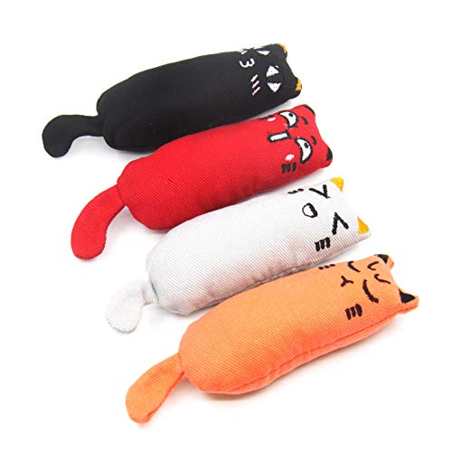 YAVO-EU 4 Stücke Katzenminze Spielzeug Katze Interaktive Spielzeug Haustiere Kissen Kauen Spielzeug Set für Katze/Kitty/Kätzchen